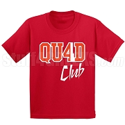 4/Quad Club Screen Printed T-Shirt, Red/White