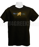 Sigma Gamma Rho Metallic Stone Stud T-Shirt with Organization Name and Poodle, Black