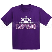 Captain Screen Printed T-Shirt, Purple/White