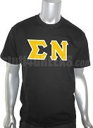 Sigma Nu Greek Letter Screen Printed T-Shirt, Black