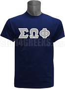 Sigma Omega Phi Greek Letter Screen Printed T-Shirt, Navy Blue