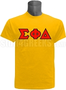 Sigma Phi Delta Greek Letter Screen Printed T-Shirt, Gold