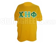 Chi Eta Phi Green Greek Letter with White Outline Screen Printed T-Shirt , Yellow