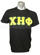 Chi Eta Phi Yellow Greek Letter with Green Outline Screen Printed T-Shirt , Black