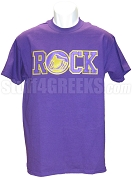 ROCK Screen Printed T-Shirt, Purple/Old Gold