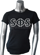 Swing Phi Swing Screen Printed T-Shirt with Greek Letters, Black