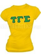 Tau Gamma Sigma Greek Letter Screen Printed T-Shirt, Gold