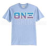 Theta Nu Xi Half Letters Screen Printed T-Shirt, Light Blue