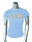 Alpha Sigma Theta Greek Letter Screen Printed T-Shirt, Baby Blue