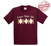 KappaNupeGear - Kappa Alpha Psi Triple Diamond and Founding Year T-Shirt, Crimson - EMBROIDERED with Lifetime Guarantee
