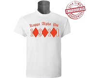 KappaNupeGear - Kappa Alpha Psi Triple Diamond and Founding Year T-Shirt, White - EMBROIDERED with Lifetime Guarantee