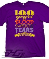 100 Years of Blood, Sweat, and Tears Screen Printed T-Shirt, Purple