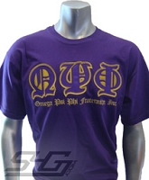 Omega Psi Phi Old English Screen Printed T-Shirt, Purple