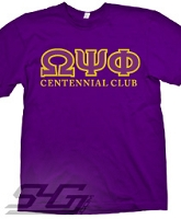 Omega Centennial Club Screen Printed T-Shirt, Purple