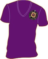 Omega Shield V-Neck Screen Printed T-Shirt, Purple