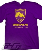 Omega Psi Phi Ferrari-Style Logo, Purple Screen Printed T-Shirt