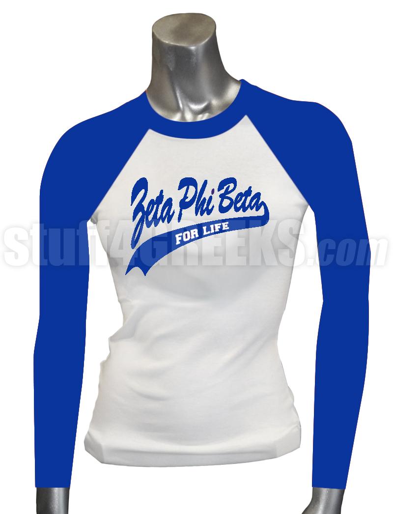Zeta Phi Beta For Life Raglan Screen Printed T Shirt Whiteroyal Blue