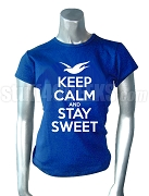 Zeta Phi Beta Keep Calm Screen Printed T-Shirt, Royal Blue