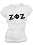 Zeta Phi Zeta Ladies Greek Letter Screen Printed T-Shirt, White