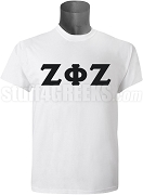 Zeta Phi Zeta Men's Greek Letter Screen Printed T-Shirt, White