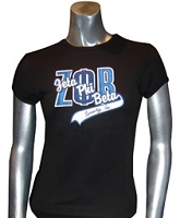 Zeta Phi Beta Inc. Fitted Screen Printed T-Shirt, Black