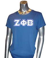 Zeta Phi Beta Triple-Layered Letters Screen Printed T-Shirt, Royal
