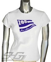 Zeta Phi Beta - Fine, White, and Blue Screen Printed T-Shirt
