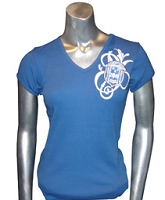 Zeta Fancy Crest V-Neck Screen Printed T-Shirt, Royal