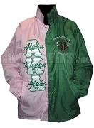 Pink and Kelly Two-Tone Alpha Kappa Alpha Line Jacket with Words Thru Letters