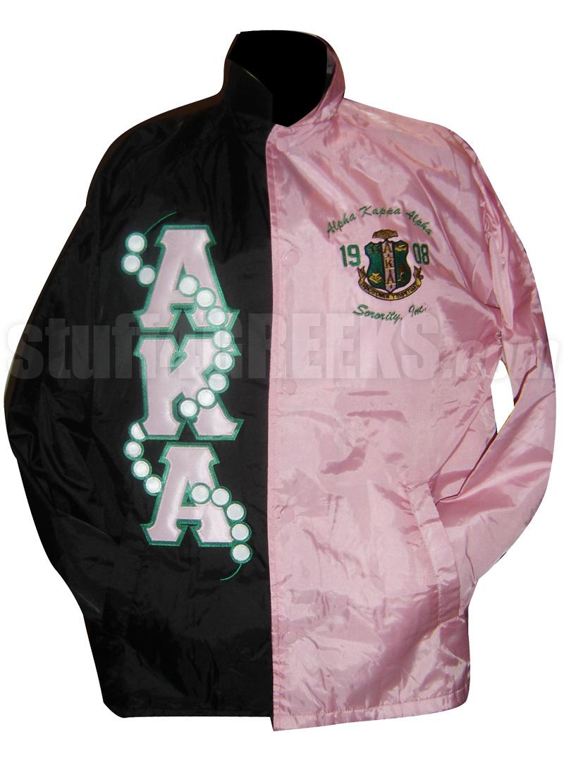 black and pink twotone alpha kappa alpha line jacket with