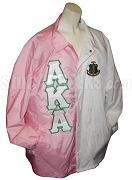 Half Pink, Half White Alpha Kappa Alpha Two-Tone Line Jacket with Split Letters