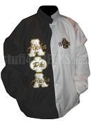 Alpha Phi Alpha Two-Tone Line Jacket with Words Thru Greek Letters and 1906 Crest, Black/White