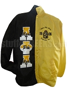 Alpha Phi Alpha Two-Tone Line Jacket with Words Thru Split Letters and 1906 Crest, Black/Yellow
