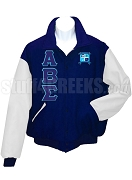 Alpha Beta Sigma Varsity Letterman Jacket with Greek Letters and Crest, Navy Blue/White