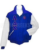 Alpha Delta Chi Varsity Letterman Jacket with Greek Letters and Crest, Royal Blue/White