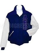 Alpha Epsilon Omega Varsity Letterman Jacket with Greek Letters, Navy Blue/White