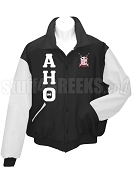 Alpha Eta Theta Varsity Letterman Jacket with Greek Letters and Crest, Black/White