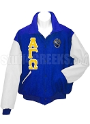 Alpha Gamma Omega Varsity Letterman Jacket with Greek Letters and Crest, Royal Blue/White