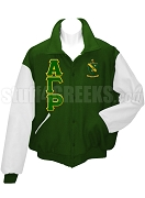 Alpha Gamma Rho Varsity Letterman Jacket with Greek Letters and Crest, Forest Green/White