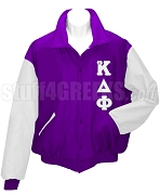 alpha Kappa Delta Phi Varsity Letterman Jacket with Greek Letters, Purple/White