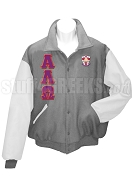 Alpha Lambda Omega Varsity Letterman Jacket with Greek Letters and Crest, Gray/White