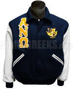 Alpha Nu Omega Greek Letter Varsity Letterman Jacket with Crest, Navy Blue