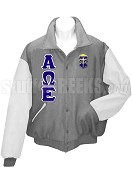Alpha Omega Epsilon Varsity Letterman Jacket with Greek Letters, Gray/White