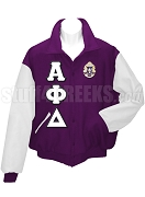 Alpha Phi Delta Varsity Letterman Jacket with Greek Letters and Crest, Purple/White