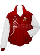 Alpha Phi Gamma Varsity Letterman Jacket with Greek Letters and Crest, Ruby Red/White