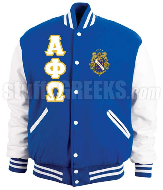 Alpha Phi Omega Varsity Letterman Jacket with Greek Letters and