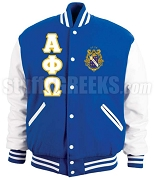 Alpha Phi Omega Varsity Letterman Jacket with Greek Letters and Crest, Royal Blue/White