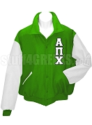 Alpha Pi Chi Varsity Letterman Jacket with Greek Letters, Green/White