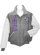 Alpha Pi Zeta Basic Greek Letter Varsity Letterman Jacket with Crest, Gray/White