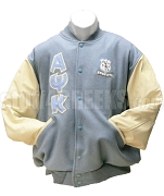 Alpha Psi Kappa Varsity Letterman Jacket with Greek Letters and Crest, Columbia Blue/Cream